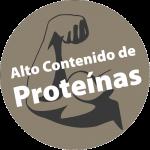 """Un bíceps dibujado y el texto """"Alto Contenido de Proteínas"""""""