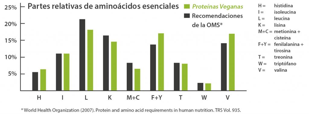 Un diagrama de barras muestra que las partes relativas de aminoácidos esenciales en Naturkost Ehlers Proteínas Veganas corresponde a las recomendaciones de la Organización Mundial de la Salud casi perfectamente