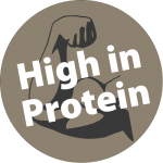 "A drawn biceps and the words ""High in Protein"""
